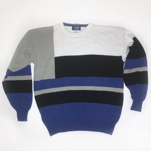 Vintage Hand Intarsia Colorblock Cotton Sweater